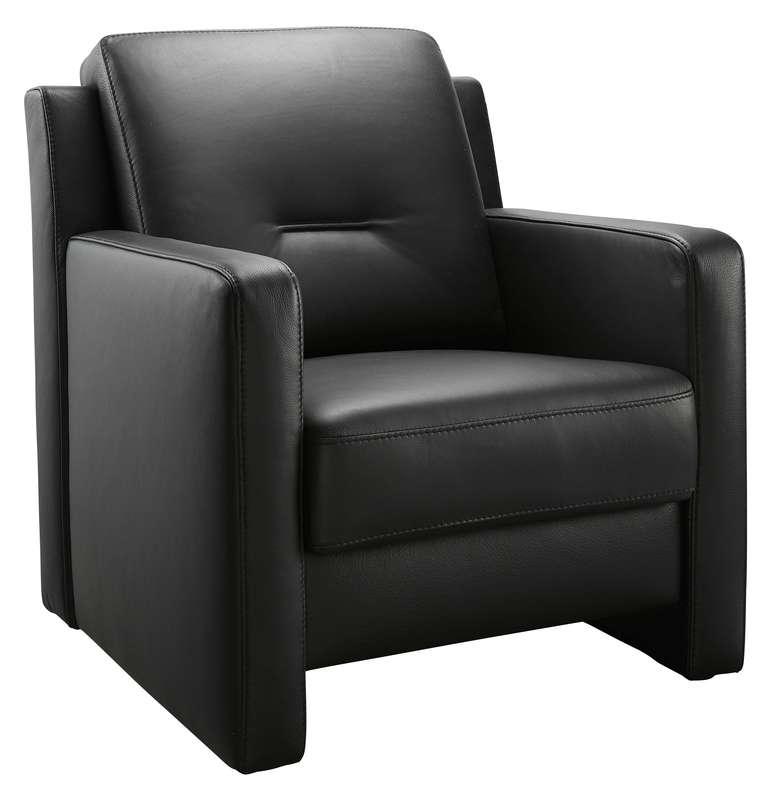 fauteuil enno met lage rug zwart leer
