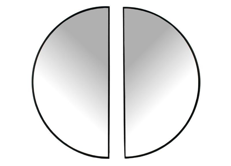 spiegel zwart metaal set van 2