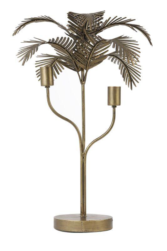Tafellamp Palm antiek brons